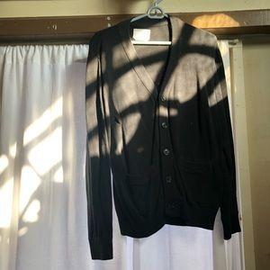 Men's black button down cardigan